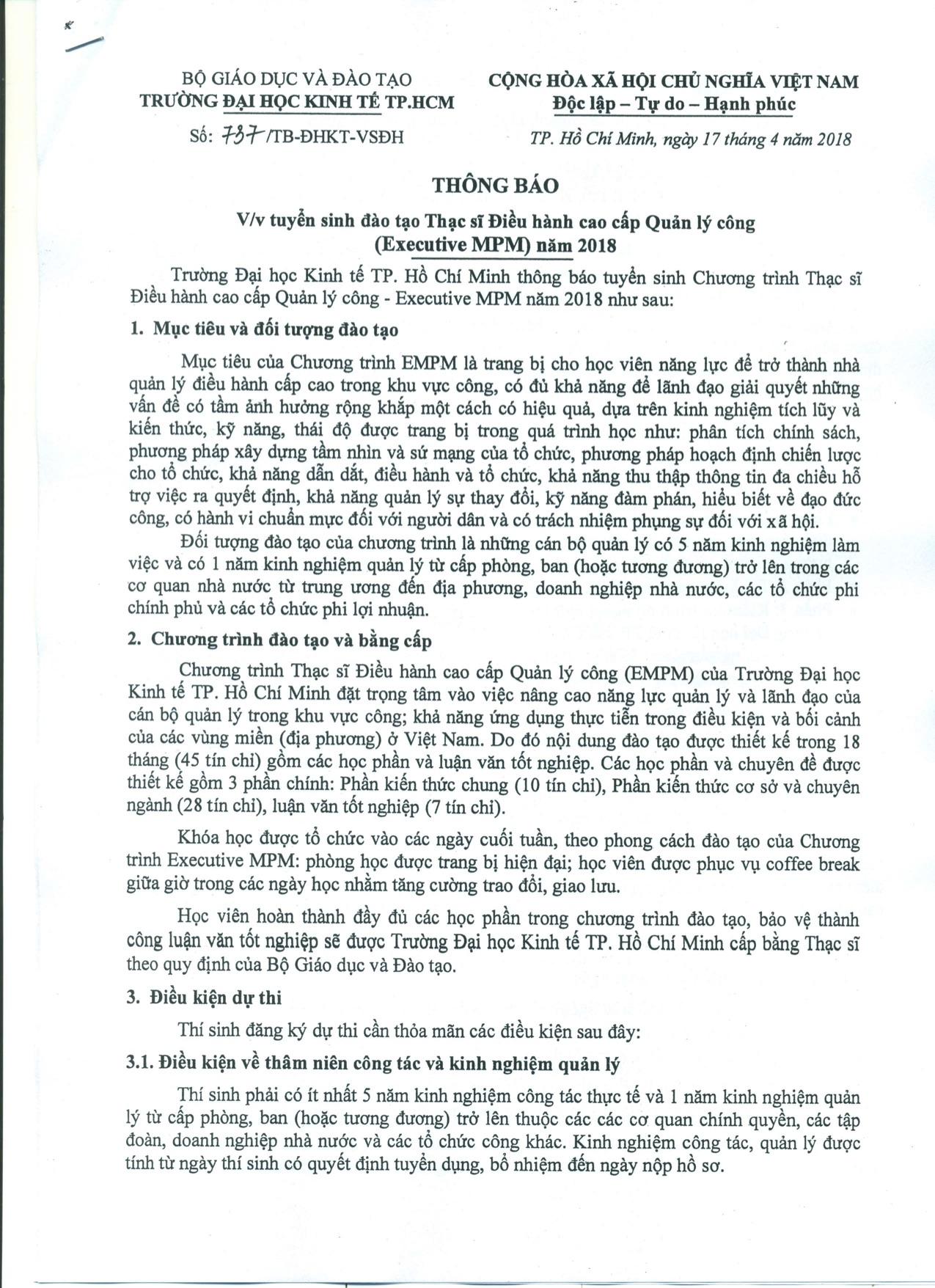 Thong bao tuyen sinh Thac si Dieu hanh Cao cap QLC 2018