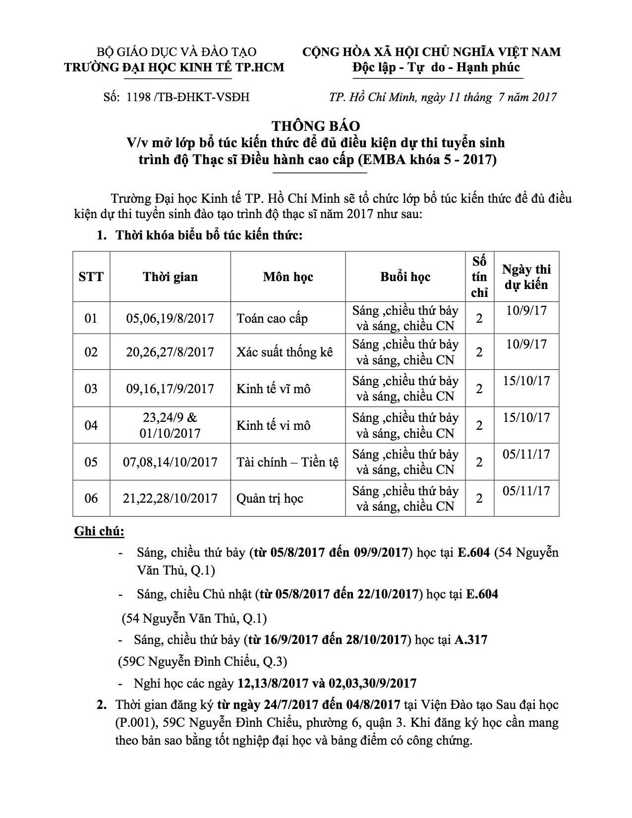 Thong bao BTKT lop EMBA khoa 5 -2017